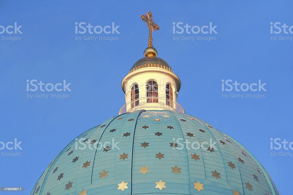 Roof of Orthodoxy church in Petersburg royalty-free stock photo