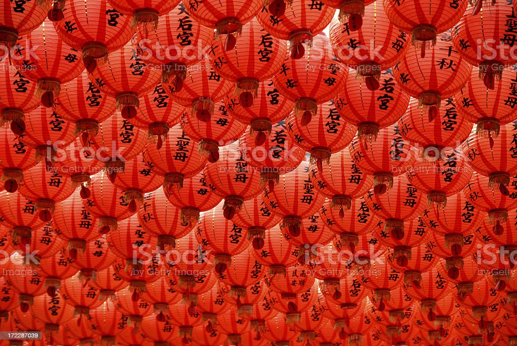 Roof of Red Chinese Paper Lanterns stock photo