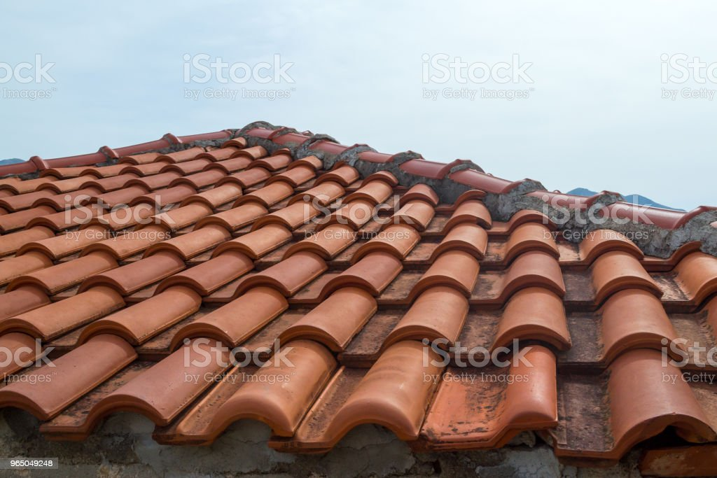 Roof of red tile close-up. Montenegro royalty-free stock photo