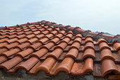 Roof of red tile close-up. Montenegro