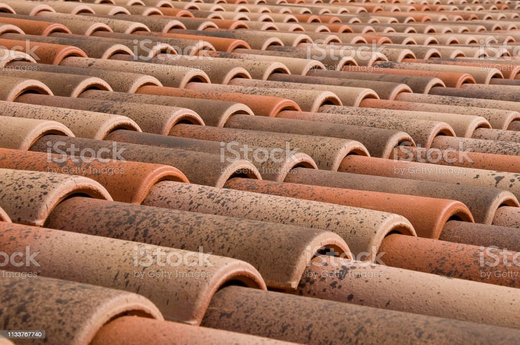 Roof of red tiles stock photo