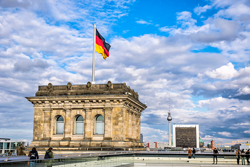 Roof of Reichstag (Bundestag) building in Berlin, Germany