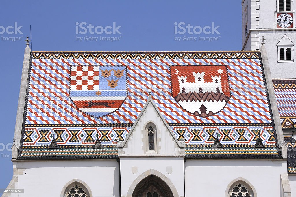 Roof of St. Mark's Church in Zagreb stock photo