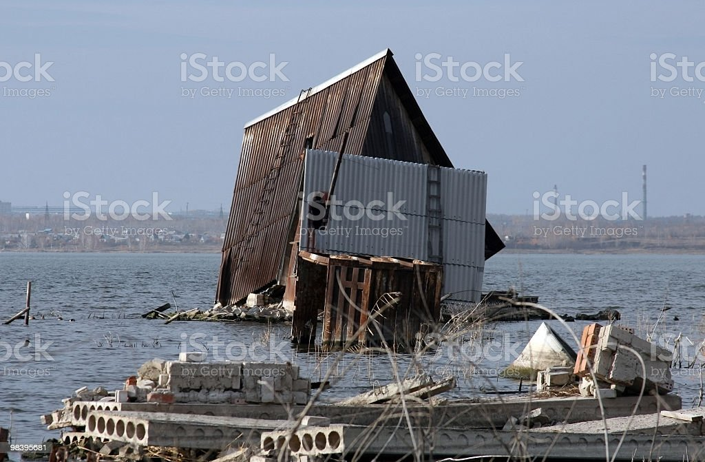Roof of the flooded house royalty-free stock photo