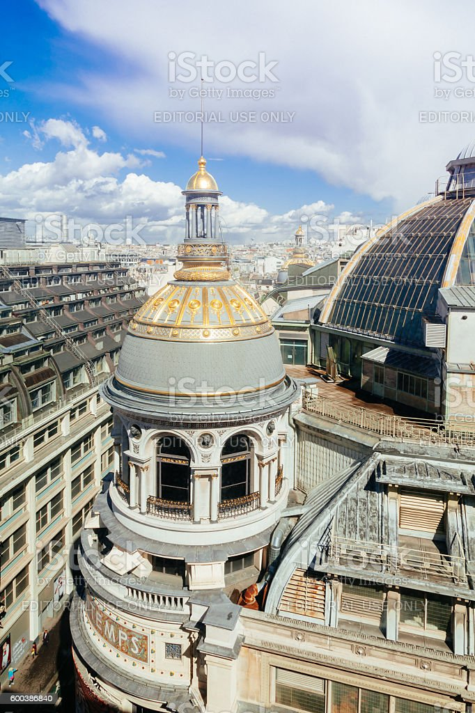 Roof of the Galerie Printemps in Paris stock photo