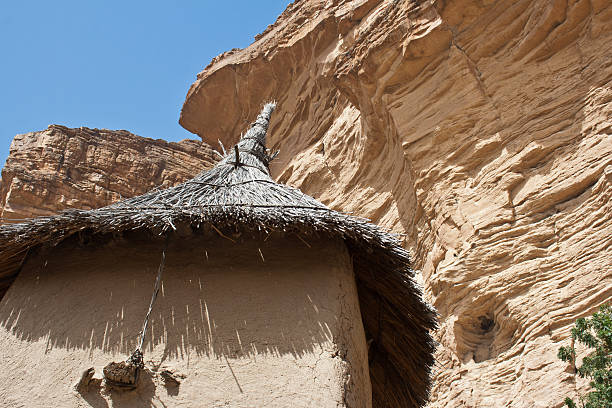 Roof of the granary in a Dogon village, Mali. stock photo