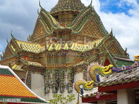 Wat Pho, Bangkok, Thailand, 2016 july 9 : traditional thai style decorated roofs of the Phra Mondop (Scripture Hall containing a small library of Buddhist scriptures) and other pavillons with colored dragons