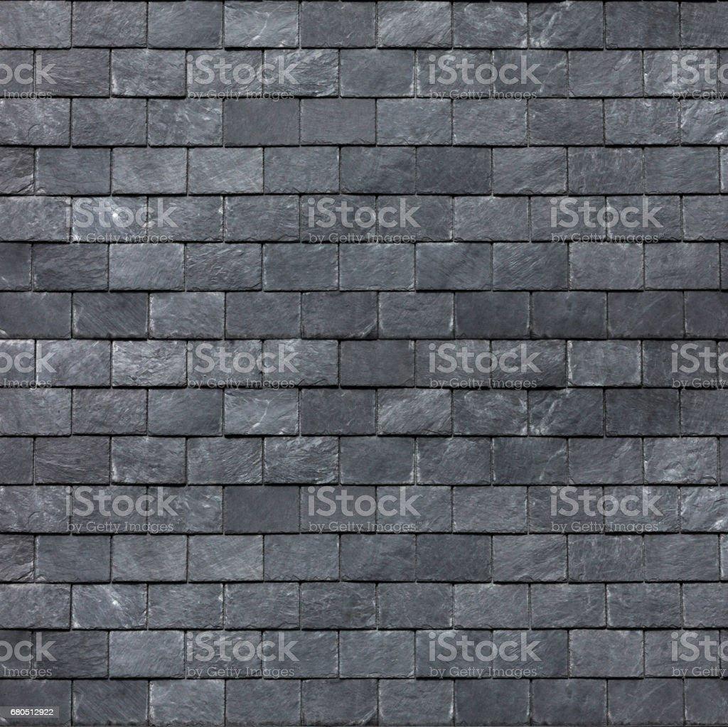 Dach (Wand) von dem schlesischen schwarze Schiefer. Schiefer Dachziegel – Foto