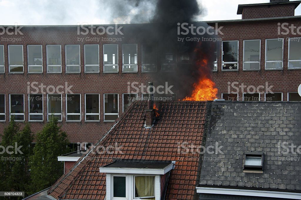 Roof on Fire stock photo