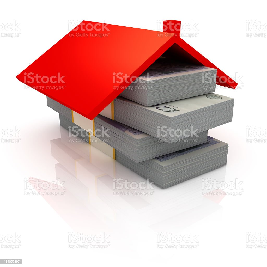 Roof on the stack of British Pounds stock photo