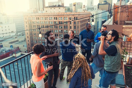 istock Roof party in Los Angeles downtown 623591462