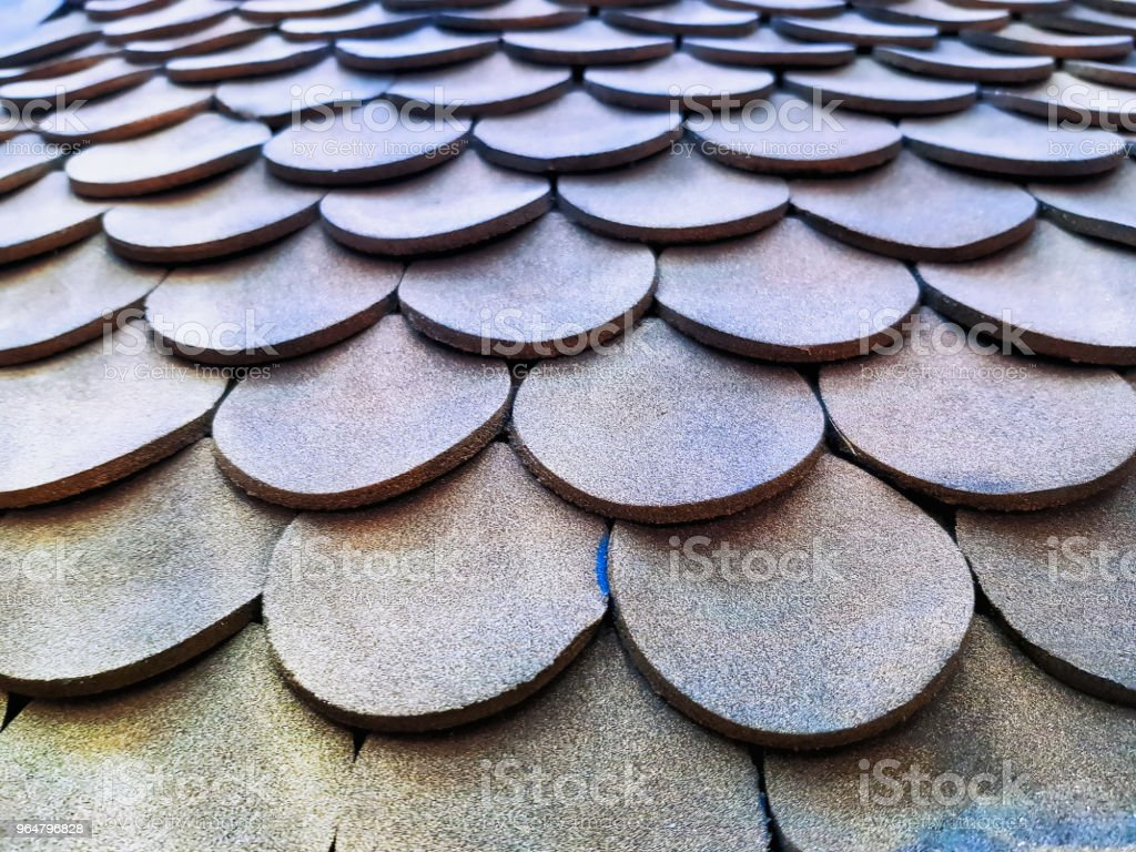 Roof Pattern Texture with Circular Tiles royalty-free stock photo