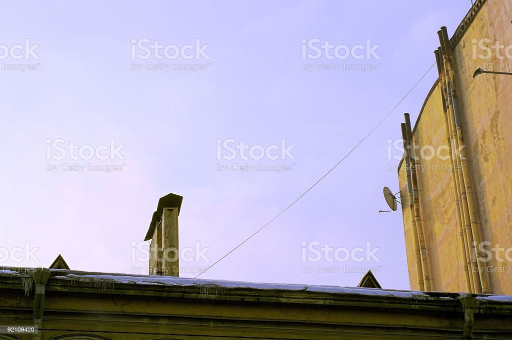 Roof, Pipes and Satellite Dish stock photo