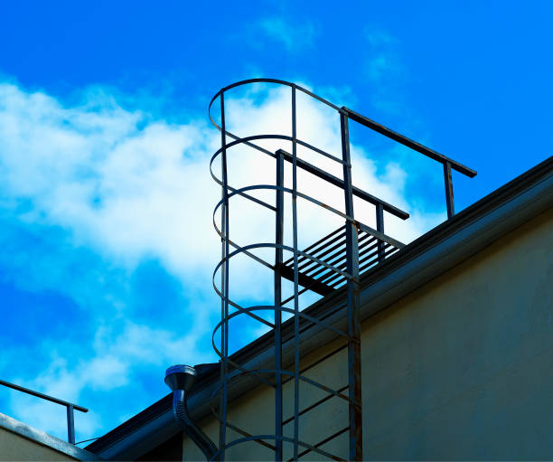 Roof safety ladder architecture background stock photo