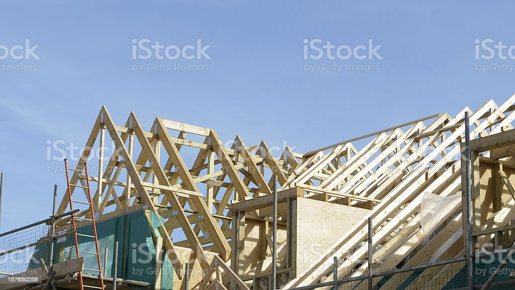 Roof Section Of A Building Under Construction royalty-free stock photo