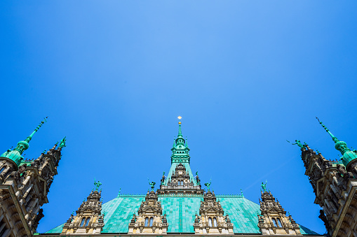 Roof shape view of the beautiful famous Hamburg town hall in Altstadt quarter, Hamburg, Germany