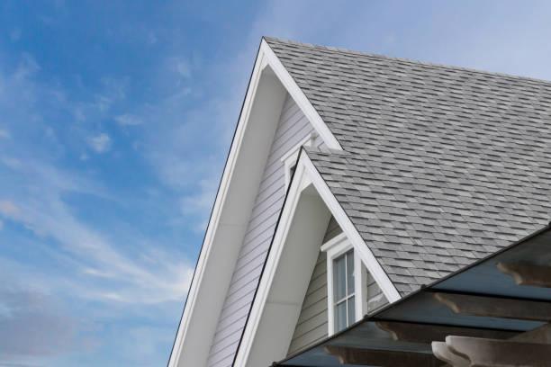 dak gordelroos bovenop het huis tegen blauwe hemel met wolk, donkere asfalt tegels op de achtergrond van het dak. - dak stockfoto's en -beelden