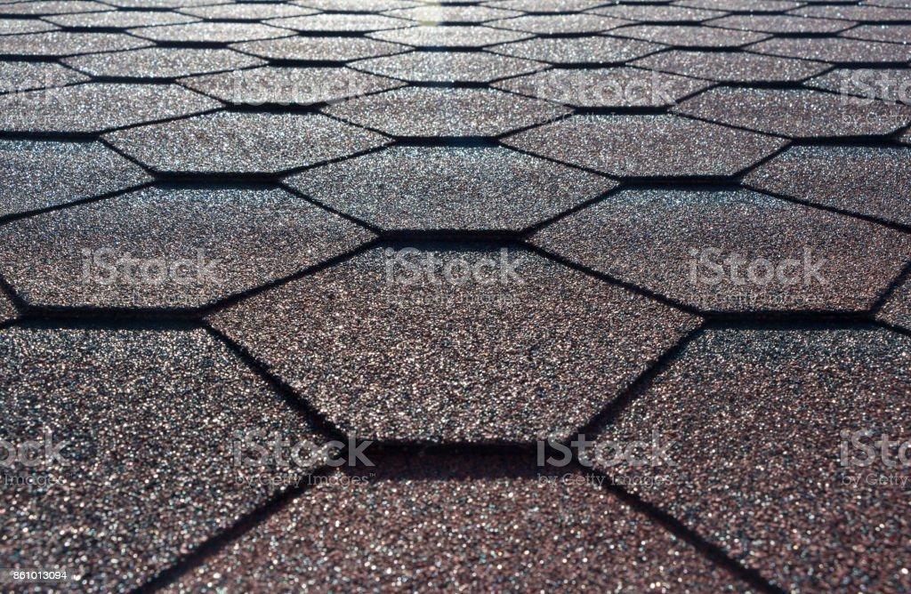 Roof shingles, polygon tile background stock photo