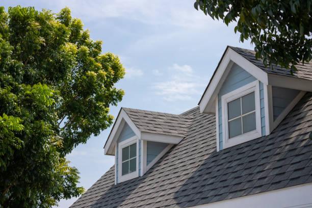 dachschindeln mit garret haus auf der oberseite des hauses unter vielen bäumen. dunkle asphaltfliesen auf dem dachhintergrund. - dach stock-fotos und bilder