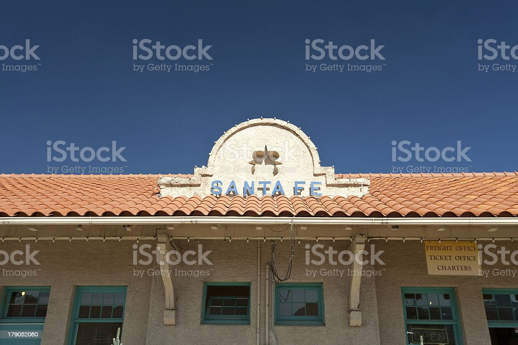 Roof Sign for the Santa Fe, New Mexico Train Station stock photo