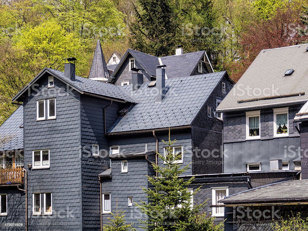 Roof slate houses in the Thuringian Forest stock photo