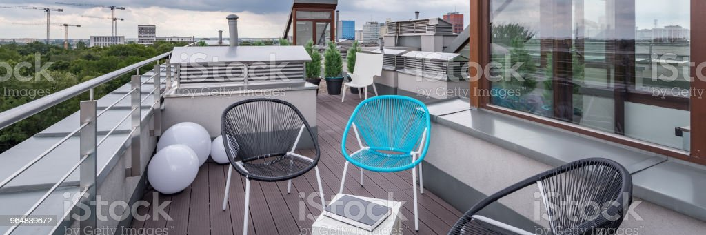 Roof terrace with modern chairs royalty-free stock photo