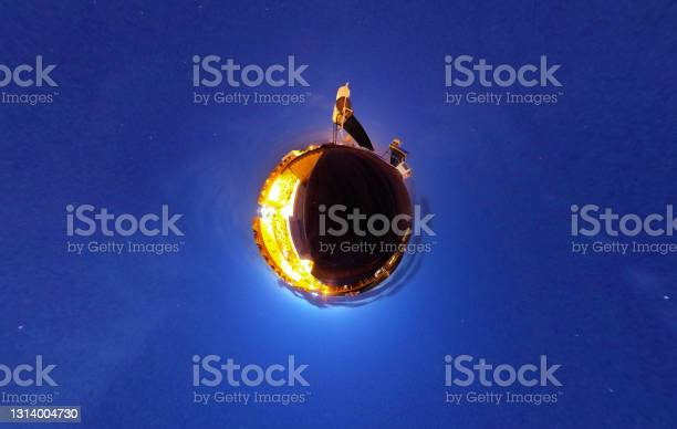 Photo of Roof Tiles and Landscape, Little Planet Format