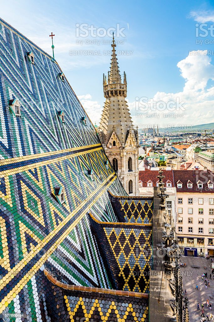Roof Tiles Of St. Stephen's Cathedral, Vienna, Austria stock photo