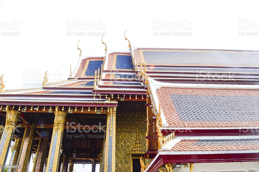 roof tiles of Thai temple stock photo