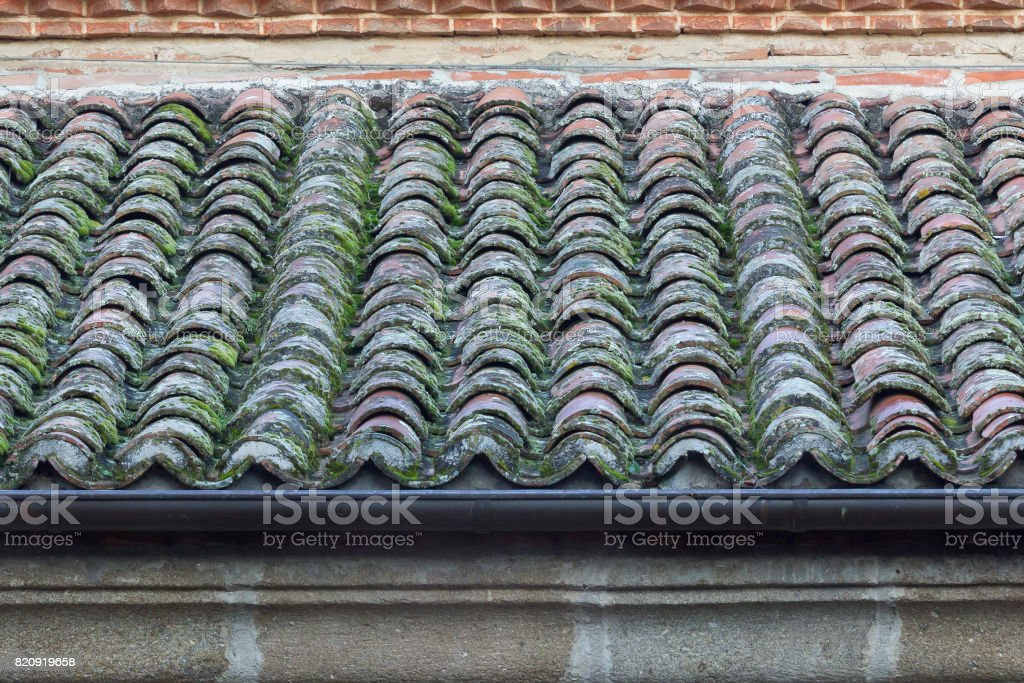 Roof tiles with moss. stock photo