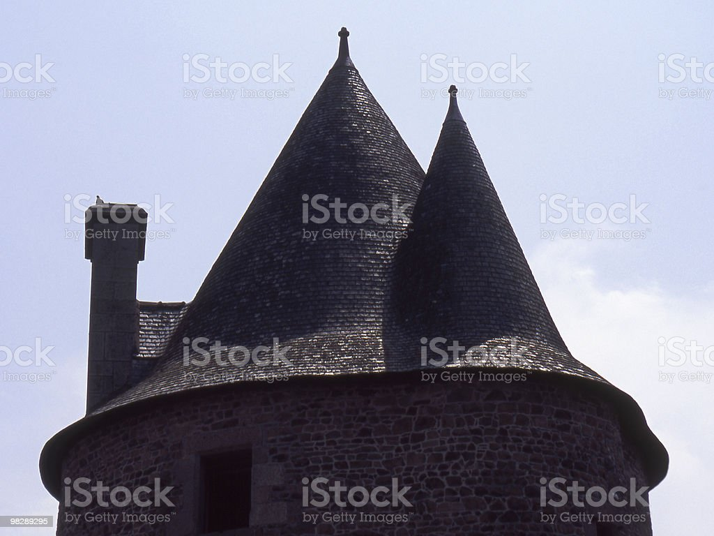 Roof to Castle Tower. Fourgeres. France royalty-free stock photo