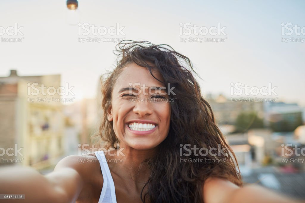 Roof top party in Barcelona. stock photo