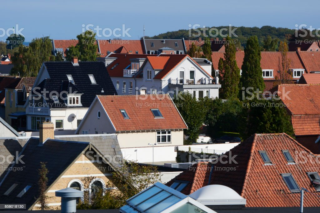 Roof top view in Odense stock photo