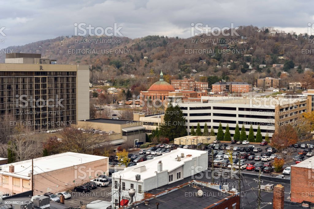 Roof top view of Asheville stock photo