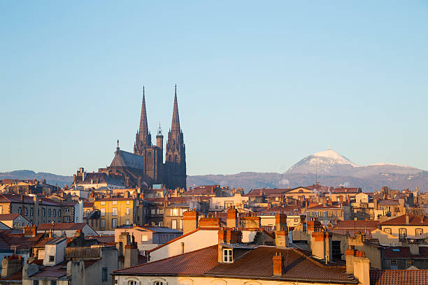 Roof top view of Puy de dome Clermont ferrand Auvergne stock photo
