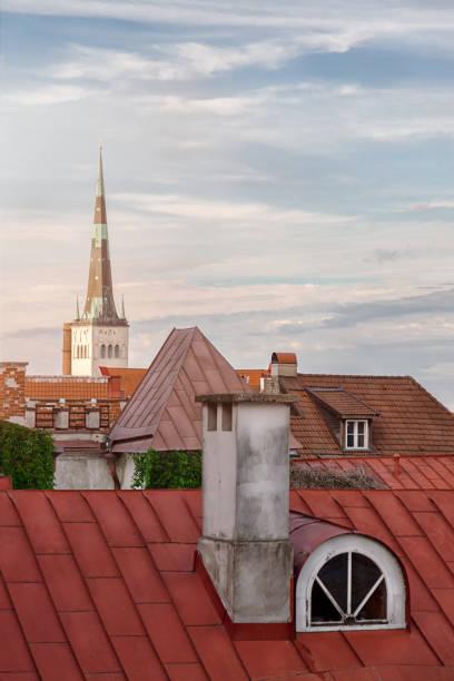 draufsicht auf die altstadt von tallinn mit mittelalterlichen häusern dach - tunnelkamin stock-fotos und bilder