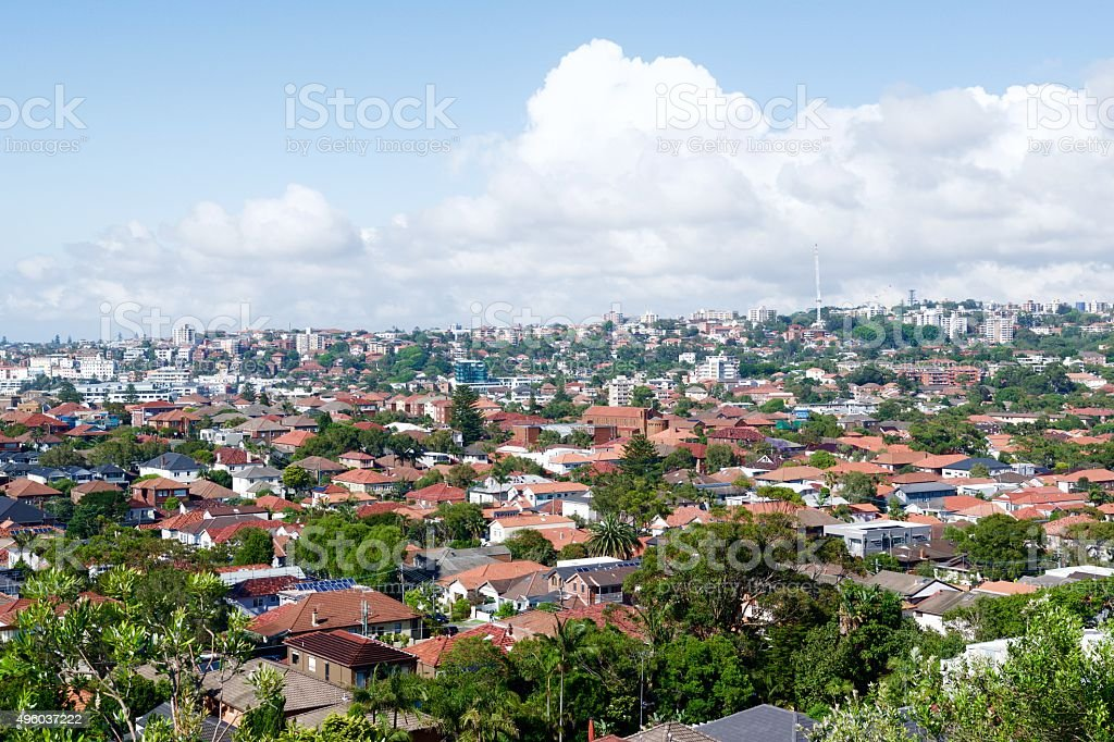 Roof tops at Bondi stock photo