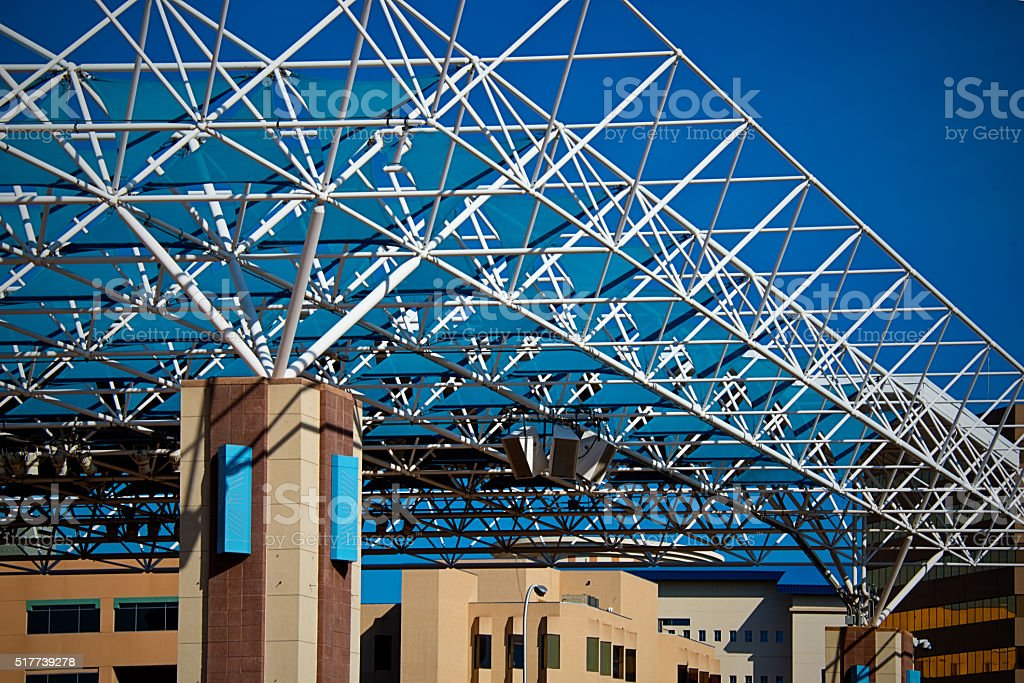 Roof Truss Canopy Structure, Space Frame, Engineering, Architecture stock photo