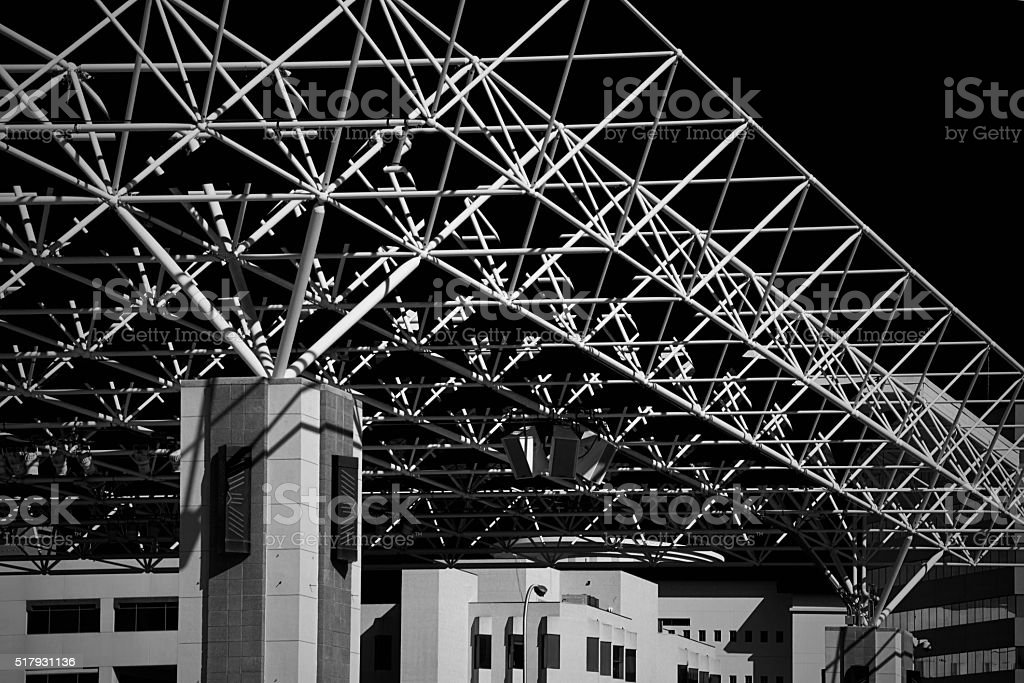 Roof Truss Canopy Structure, Space Frame, Engineering, Architecture, Monochrome stock photo
