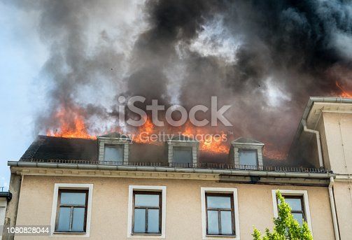 Roof truss in flames