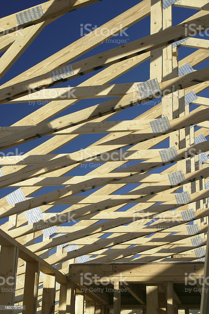 Roof Trusses and Shadows, Construction royalty-free stock photo