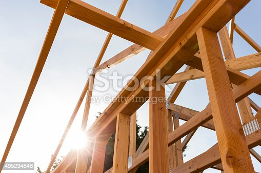 istock roof trusses of new home construction 495294846