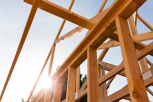 Roof Trusses Of New Home Construction Stock Photo - Download Image Now