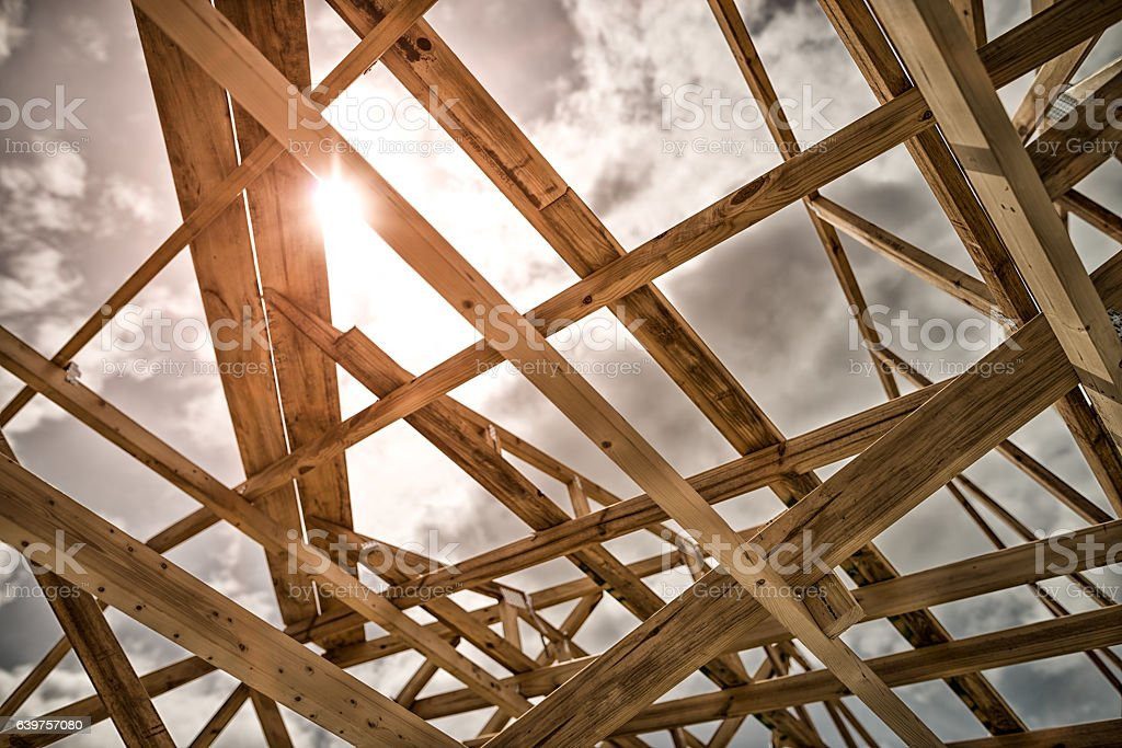 Roof trusses of new home construction royalty-free stock photo