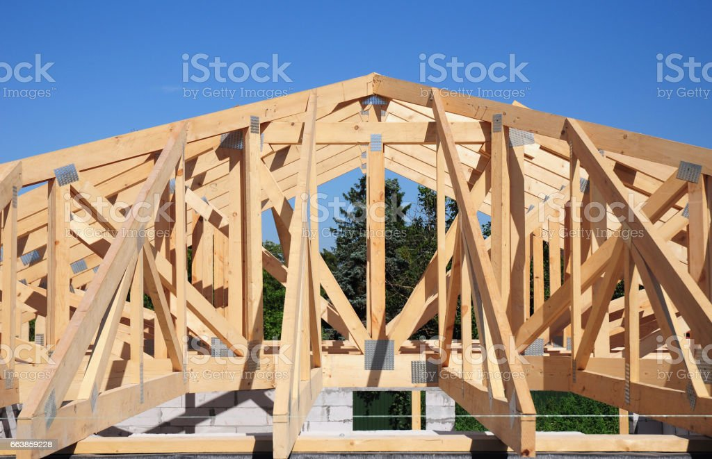 Roof trusses roofing construction house roof for Wooden roof trusses prices