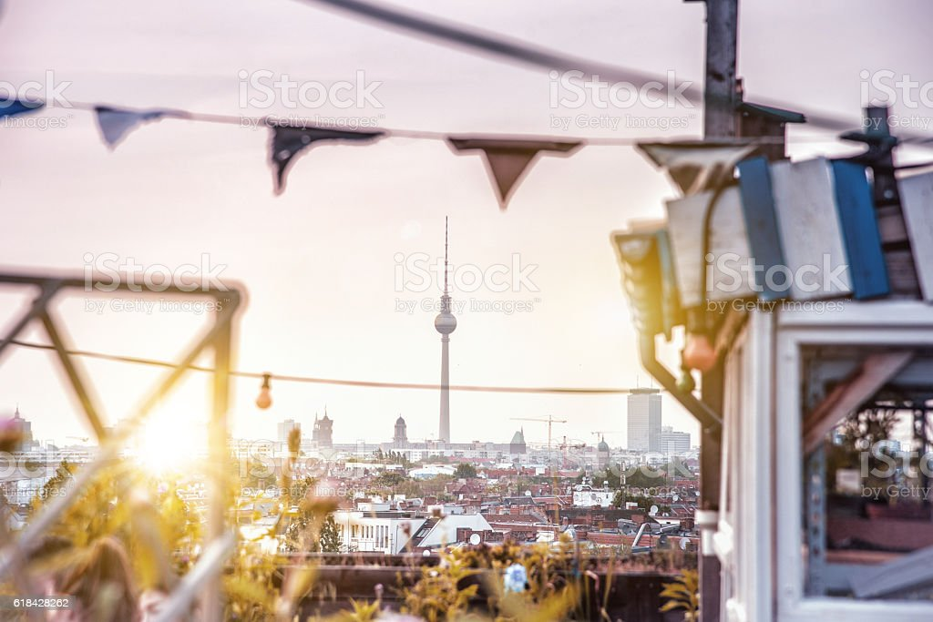 roof view over berlinskyline with television tower at summer evening – Foto