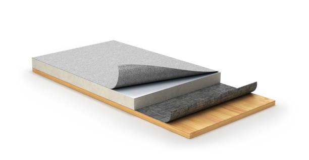 dak impregneren systeem of plat dak. 3d illustratie - membraan stockfoto's en -beelden