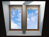 double roof windows overlooking the blue slightly cloudy sky