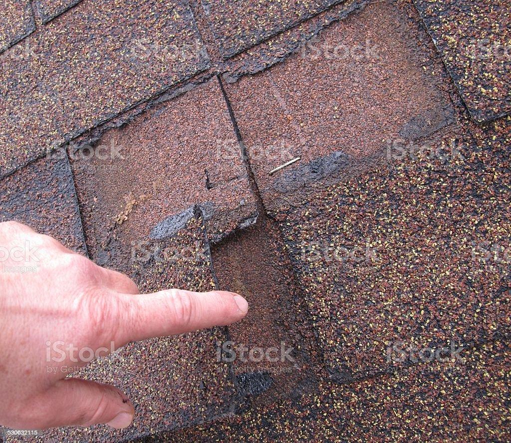 roof with bitumen shingle stock photo