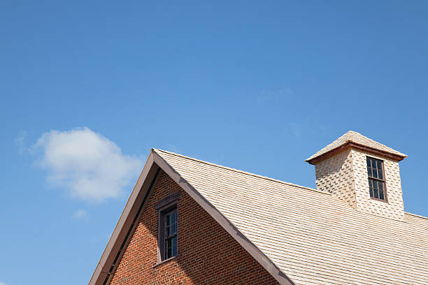 Roof with Cedar Shingles stock photo